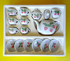 Vintage China Miniature Doll Dollhouse Tea Party Set Porcelain Strawberry 17 Pc