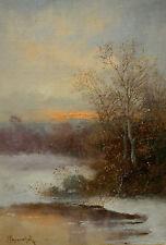 A. Papouschek - Adolf KAUFMANN - Winterlandschaft mit Sonnenuntergang