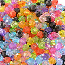 "500PCs Acrylic Spacer Beads Faceted Round Ball Mixed 6mmx6mm(2/8""x2/8"")"