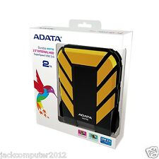 New Adata DashDrive HD710 Waterproof USB 3.0 External Hard Drive 2TB Yellow