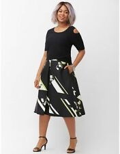 NEW LANE BRYANT PLUS SIZE PLEATED A-LINE MIDI SKIRT SZ 16