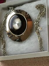 VINTAGE SARHA COVENTRY SILVER TONE LARGE LOCKET NECKLACE CHAIN Runway Design