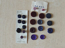 Vintage 21 Buttons LE CHIC ,PURPLE AND BLUE ,DARK BURGUNDY