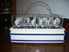 Vintage Metal Decorative Glass Carrier With 8 Matching Tumblers With Sword Fish