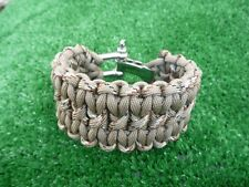 Coyote Tan/Desert Camo Adjustable Paracord Bracelet w SS shackle, WIDE SOLOMON