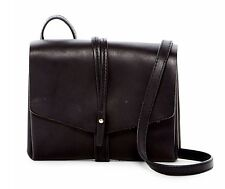 NEW VINCE CAMUTO Group Tuck Saddle Leather Black Crossbody Bag $178