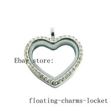 New Style Copy Stainless Steel Crystal Peach Heart Floating Charms Glass Locket