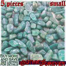 5 Small 10mm Free Ship Tumbled Gem Stone Crystal Natural - Amazonite