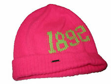 Abercrombie and Fitch Pink Neon Green 1892 Knit Beanie Hat Winter Cap