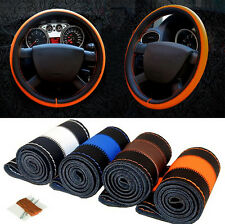 38cm Leather DIY Anti-slip Car Steering Wheel Cover Auto Stitch On Wrap Cover