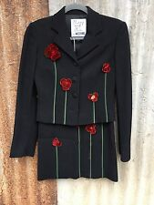Moschino Cheap & Chic Womens 2 pc Skirt Suit Velvet Flowers Made in Italy
