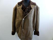 "MENS Sheepskin Leather & Shearling COAT LIGHT BROWN 48"" CHEST GOOD SKU NO W621"
