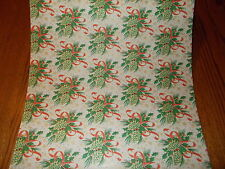 VTG CHRISTMAS STORE WRAPPING PAPER GIFT WRAP 2 YARDS PINE CONE RED RIBBON PRETTY