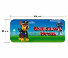 Paw Patrol Chase Dog Personalised Childrens Bedroom Door Plaque Sign Girls