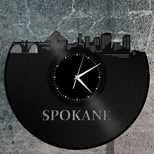 Spokane Skyline Vinyl Wall Clock, Cityscape Clock, Unique Large Wall Clock