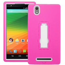 ZTE ZMax Hybrid Dual Layer Rugged Case w/Stand Skin Cover Z970 TMobile MetroPCS