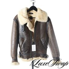Orchard MC Brown Distressed Shearling Leather Fur B3 Flight Jacket Coat USA 34