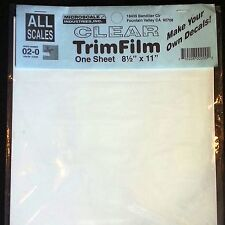 "Clear Decal Paper Microscale Trim Film Water-Slide 8.5"" x 11"" (1 Pack) 02-0"