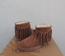 UGG CHESTNUT/ NATURAL WYNONA FRINGE SUEDE/ SHEEPSKIN BOOTS, US 8/ EUR 39 ~ NIB