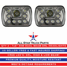 "Pair 7x6"" inch CREE Replace H6054 H6014 LED Headlights DRL + High/Low Beam 55W"