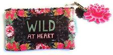 Wild At Heart Coin Purse Small Mini Wallet Papaya Art Credit Card ID Black Pink