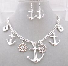 Silver Nautical Wheel Anchor Necklace Earrings Set Fashion Jewelry NEW