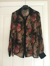 Miss Selfridge Beige Blouse Floral Print Chiffon Loose With Long Sleeves Size 12