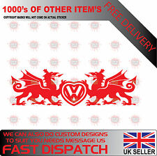 WELSH DRAGON VW HEART BADGE Car/Window WALES VDUB T5 T4 GOLF Vinyl Decal Sticker