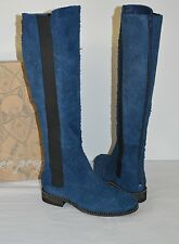 New $298 Free People Callow Indigo Blue Tall/Knee High Boots Distressed Suede 8
