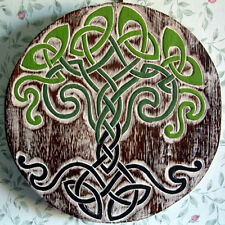 CELTIC TREE KNOT WALL PLAQUE Hanging SIGN PAGAN Wiccan WOODEN Hand Carved RUSTIC