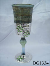 Green Silver Plated Blowing Glass Kidush Cup 6''-7'' Height & Swarovski Stones
