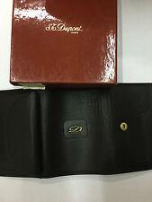 Mini portafoglio con portamonete  Dupont 50682 pelle nera leather purse black