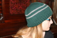 Harry Potter Hat Slytherin School Colors Hat  Hand Knit Beanie Slytherin Hat