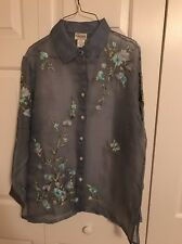 Women's Silk Blouse Blue Sheer With Floral Design Size Medium