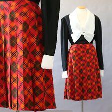Authentic Vintage CELINE Paris orange plaid ARGYLE 100% silk dress skirt Sz. 44