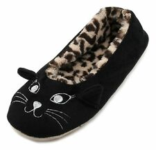 Slumberzzz Ladies Leopard Print Plush Lined Cat Face Slippers