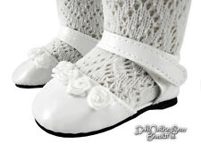 """White Patent Ankle Strap Shoes made for 18"""" American Girl Doll Clothes"""