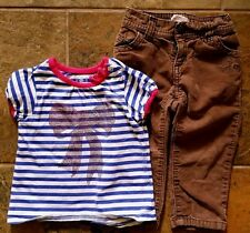 Girl's Size 18-24 M Months 2 Piece Old Navy Striped Bow Top & Brown Heart Pants