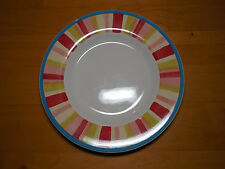 Tabletops Gallery CHERRY BLOSSOM Set of 3 Dinner Plates Stripes 11 in Multi Colo