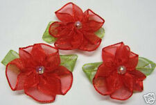 60 Red Organza Flower w/ bead Appliques ~ Xmas/Trim
