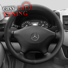 MERCEDES SPRINTER MK2 2006 + BLACK ITALIAN GENUINE LEATHER STEERING WHEEL COVER