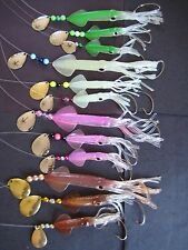 SET OF 12 FLUKE FLOUNDER HOLOGRAPH TSUNAMI SQUID RIGS LURES HAND TIED
