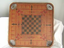 Antique Turn of the Century Carrom Checkers Double Sided Board Game & Pieces