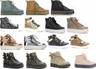 WOMENS LADIES FLATFORM CANVAS HI TOP LACE UP TRAINERS SNEAKERS SHOES SIZE
