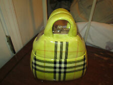 Svea Collection Ceramic Purse Handbag Cookie Storage Jar Lime Green Plaid NEW