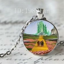 Wizard of Oz Necklace- Emerald City silver Necklace Glass Photo cabochon