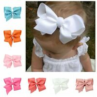 Popular 14cm Large Grosgrain Ribbon Hair Bows Flower Clip Baby Girl Accessories
