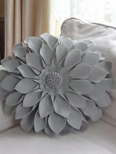 Round Silver Grey Felt 3D Flower Cushion Pillow 16 inches