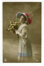 c 1912 Glamor Glamour FASHIONABLE YOUNG LADY Beauty tinted photo postcard
