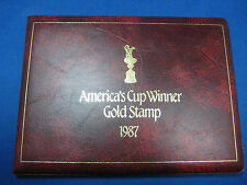 23k gold America's Cup Winner stamp 1987 booklet type of folder Very Collectible